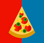 Half red and blue background with a pizze slice on it.   The answer is: Dominos
