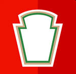 A red backfround with the outling to a ketchup brand logo  The answer is: Heinz