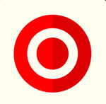 A white background with a red bullseye mark  The answer is: Target