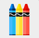 A blue , yellow, and orange crayon  The answer is: Crayola