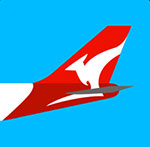 An airplane with a Kangaroo on the tail of it  The answer is: Qantas