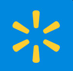 A blue background with yellow lines going in a circle  The answer is: Walmart