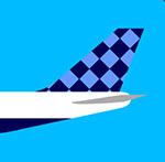 An airplane with a checkered tail  The answer is: Jetblue