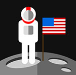 An Astronuat in space with an American flag  The answer is: Nasa