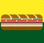 Two pieces of bread with green, red, purple and white in the middle  The answer is: Subway