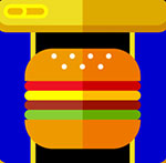 A gold and blue background with a hamburger in the front of it  The answer is: Spam