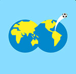 Two globes together with a soccer ball flying out  The answer is: Fifa