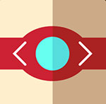 A red band with a blue middle to it  The answer is: Power Balance