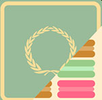 A green background with a gold circle in the middle and colored objects coming out of the side  The answer is: Laduree