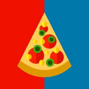 Half red and blue background with a pizze slice on it.