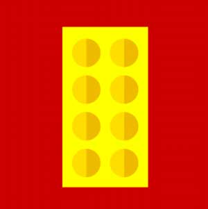 A red background with a yellow block