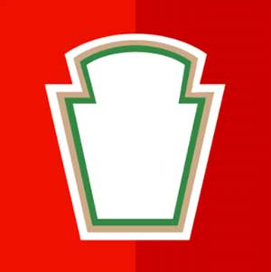 A red backfround with the outling to a ketchup brand logo