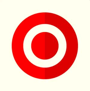 A white background with a red bullseye mark