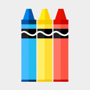 A blue , yellow, and orange crayon