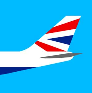 An airplane with the British Flag on the tail
