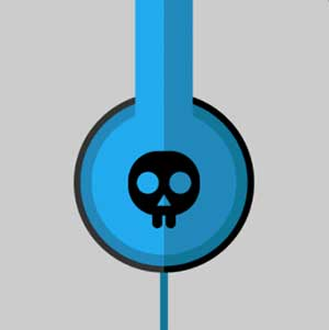 A blue pair of headphones