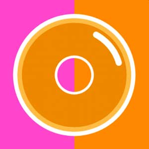A purple an orange background with a donut in the front