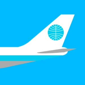 An airplane with a round emblem on the tail