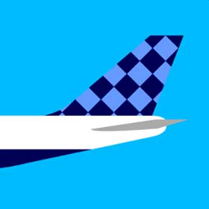 An airplane with a checkered tail
