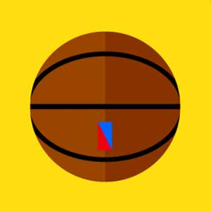 A basketball with an emblem on the bottom