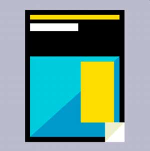 A blue, yellow and black magazine cover