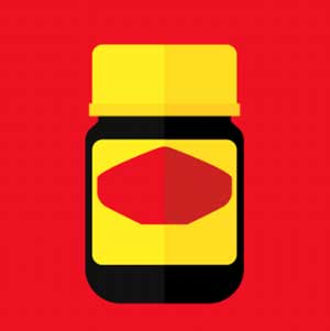 A black, yellow, and red jar