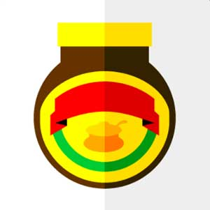 A white background with yellow, red, and green