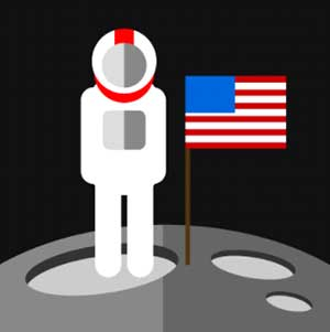 An Astronuat in space with an American flag