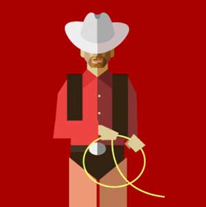 A cowboy carrying rope