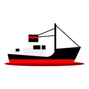 A black, red and white ship