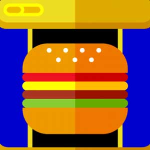 A gold and blue background with a hamburger in the front of it