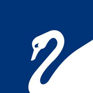 A blue background with a white swan on it