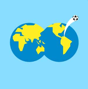 Two globes together with a soccer ball flying out