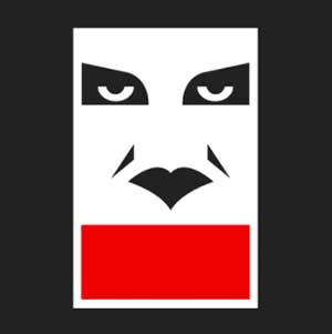 A black background with a man's white and black eyes and nose with a red stripe going across it's mouth