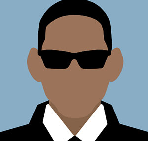 A black man with sunglasses and white collar.