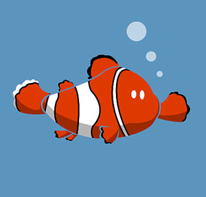An orange and white fish in the ocean.