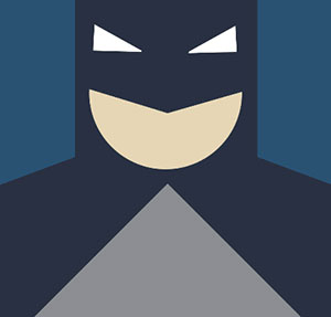 The face of Batman, blue and white mask.