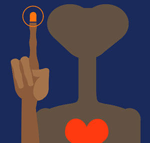 Brown alien with a red heart and pointer finger.