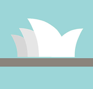Sydney opera house, three white shapes with blue background.