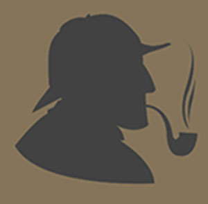 Outline of man wearing a hat and smoking a pipe.