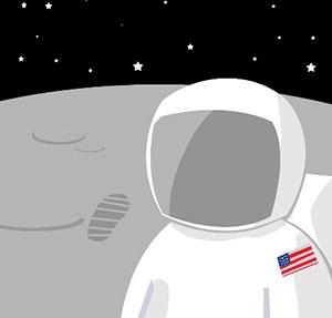 Astronaut on the moon.