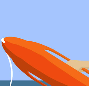 Orange  floating device in the ocean.