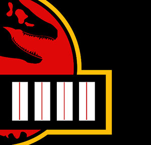 Brown dinosuar head with black and red background.