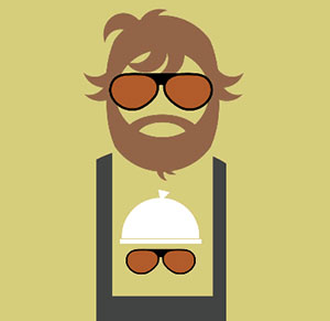 Man with long beard and sunglasses carrying baby.