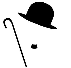 Black top hat with cane.