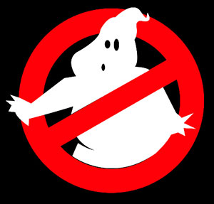 White ghost in a red circle with a dash through it.