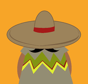 Man with sombrero and mustache.