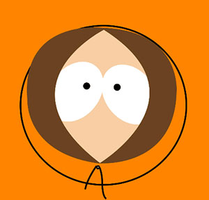 Pea shaped head with big eyes and brown hair.