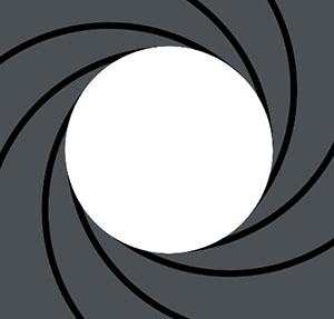White circle in grey and black swirls.