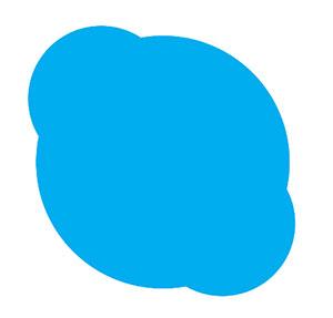 Blue speech bubble.